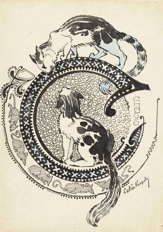 Lettre enluminée C : deux chats et frise de souris, Léopold Lelée, musée d'Orsay