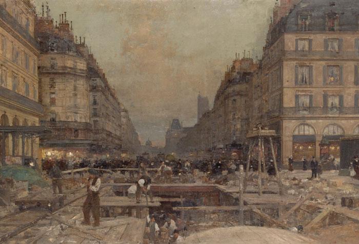 La construction du Métropolitain,1900, Luigi Loir