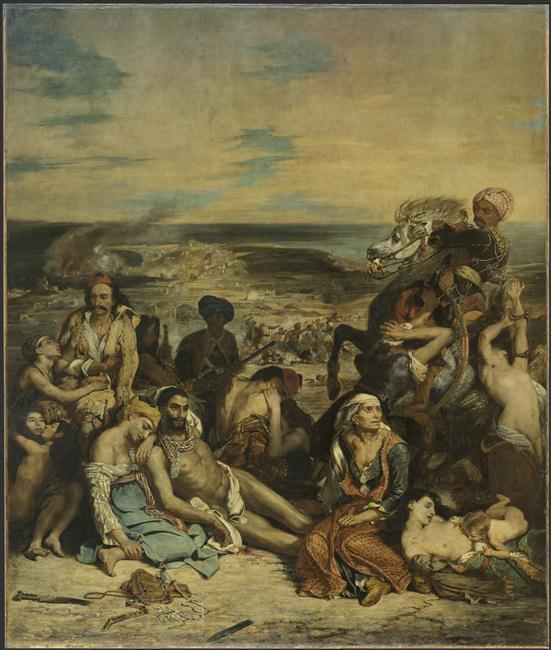 Scène des massacres de Scio : familles grecques attendant la mort ou l'esclavage, Eugène Delacroix