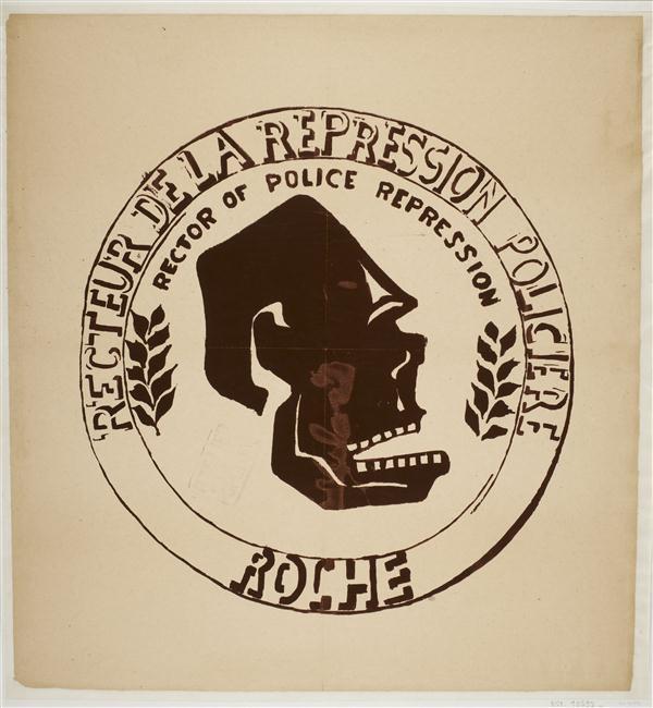 Recteur de la répression policière Roche. Atelier populaire de l'ex-Ecole des beaux-arts