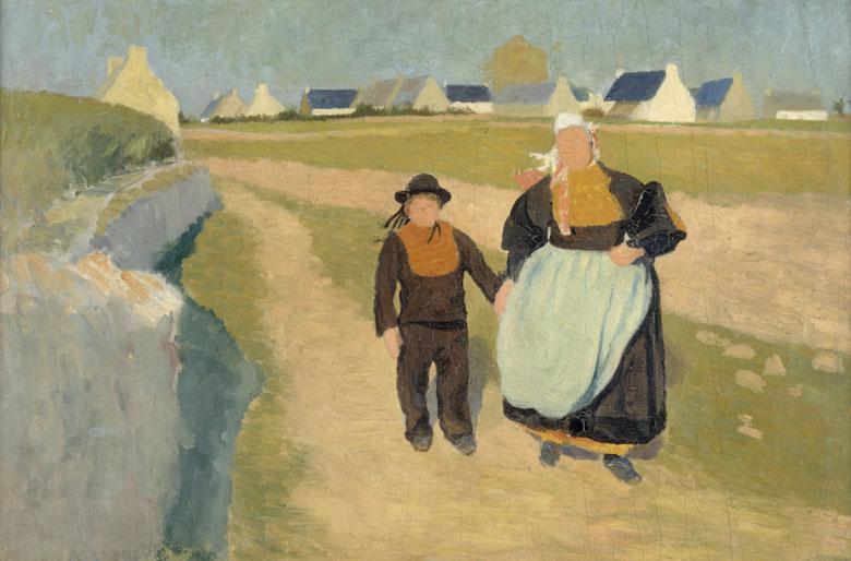 Breton et Bretonne dans un paysage, Robert Delaunay. Quimper, musée des Beaux-Arts