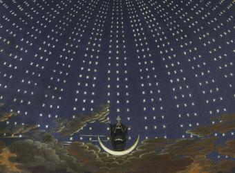 Projet de décor de scène : La Flûte enchantée (1er acte), la voûte etoilée de la reine de la nuit,Karl Friedrich Schinkel