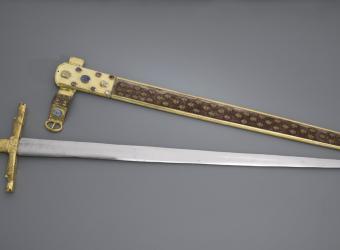 Epée du sacre des rois de France : Joyeuse ou épée de Charlemagne, Paris, musée du Louvre