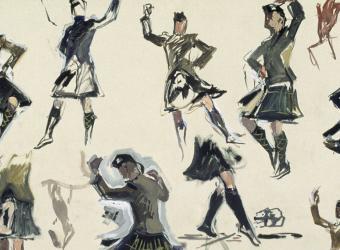 The Aldershot Tattoo, a dance competition between Scottish regiments, Albert Victor Eugène Brenet