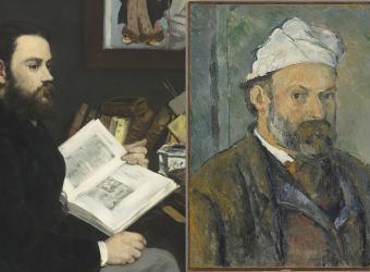 montage : Emile Zola par Edouard Manet, Musée d'Orsay / Autoportrait par Paul Cézanne, Bayerische Staatsgemäldesammlungen