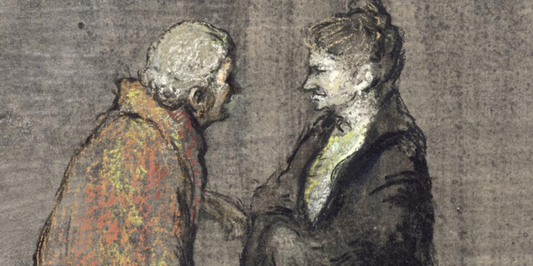 Edgar Chahine (1874-1947) : Deux vieilles femmes debout, bavardant [Two old women standing, chatting], held at Musée d'Orsay