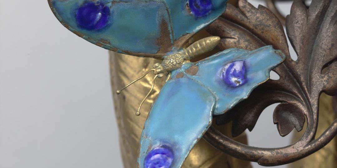 Lustre : boa offrant une pomme à un masque, Emmanuel Fremiet & Emile-Joseph-Auguste Vaudremer, Paris, musée d'Orsay