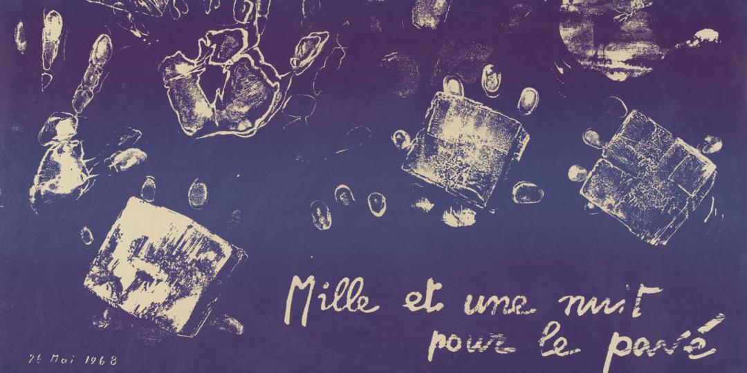 """""""Mille et une nuit pour le pavé"""", affiche de l'atelier populaire, 26 mai 1968, mai 68"""