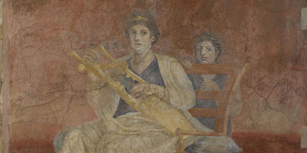 Fresque à la femme assise jouant de la lyre, New-York, The Metropolitan Museum of Art