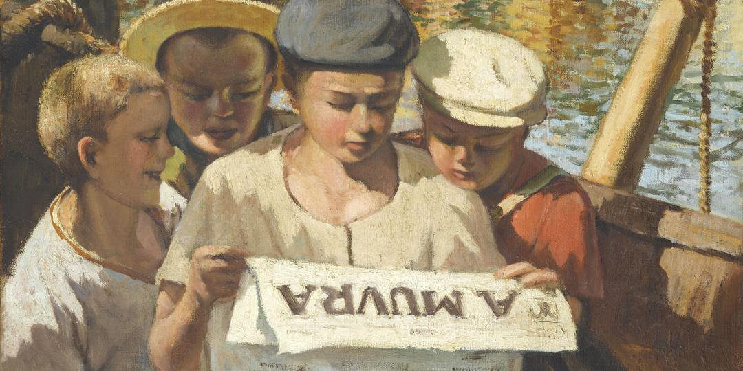 Dominique Frassatti (1896-1947) : Quatre jeunes pêcheurs du port d'Ajaccio lisant U Muvra [Four young fishermen at the port of Ajaccio reading U Muvra] (Le Mouflon)