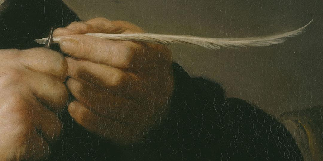 Portrait d'homme taillant une plume d'oie, H. van Rijn Rembrandt, Allemagne, Cassel, Museumslandschaft Hessen Kassel, Gemäldegalerie Alte Meister