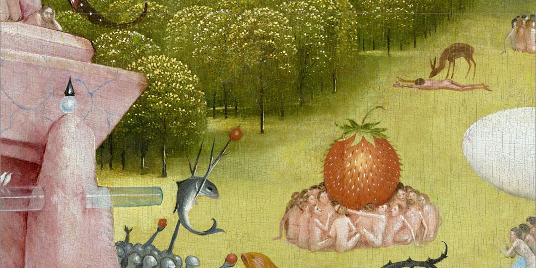 Le Jardin des délices Jérôme Bosch, détail fraise géante