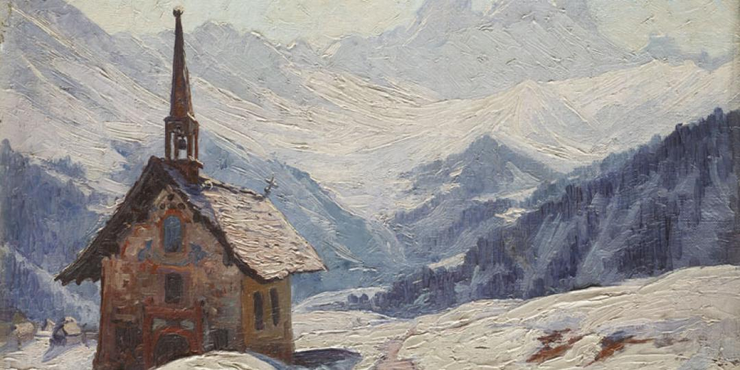 Jean Marius Bugnard (1880-1947) : Chapelle dans la neige [Chapelle in the snow], held at Musée des Beaux-Arts, Chambéry