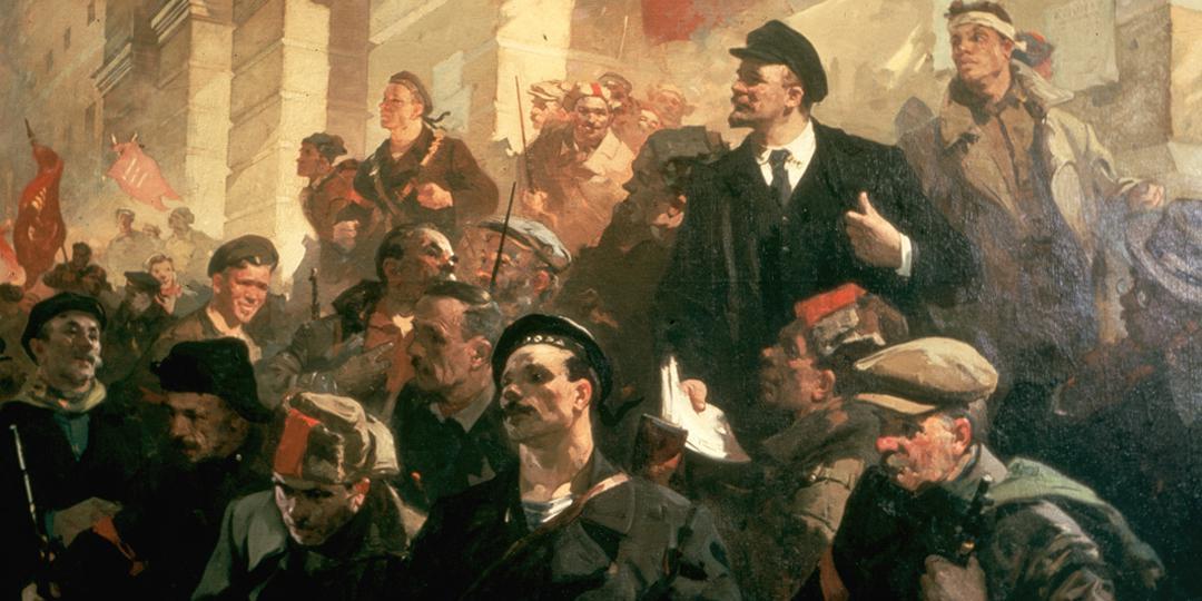 Lénine, le jour de la prise du pouvoir, devant l'Institut Smolny, Babsyuk N