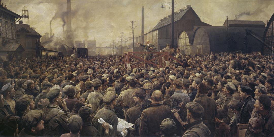 Lénine haranguant les ouvriers des usines Putilow, Izrailevitch, Berlin, BPK