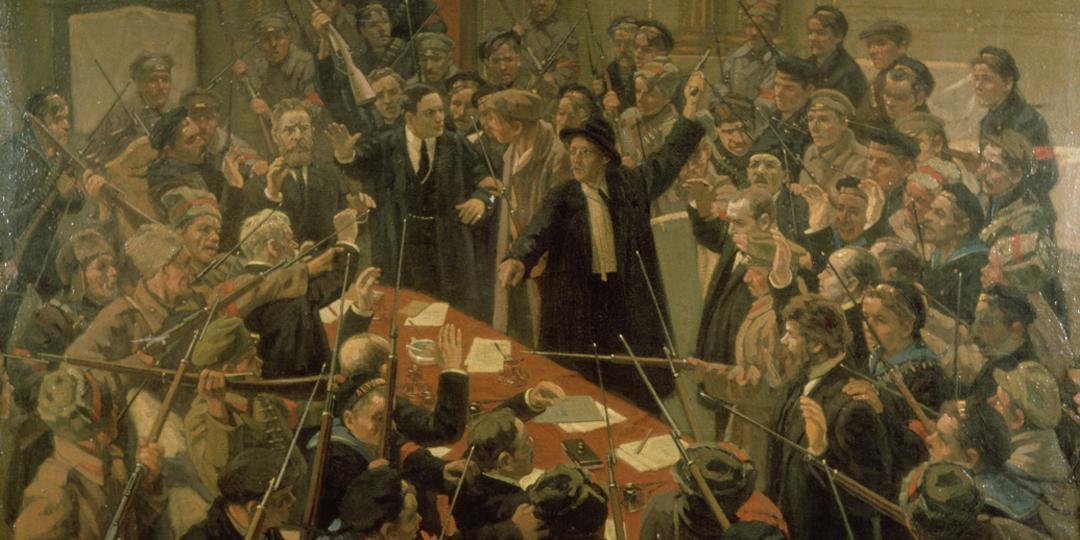 L'Arrestation du gouvernement provisoire au Palais d'Hiver par les bolcheviques, Moscou, Musée National d'Histoire russe