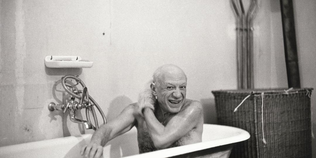 Pablo Picasso in his bath on the first day he met David Douglas Duncan by David Douglas Duncan