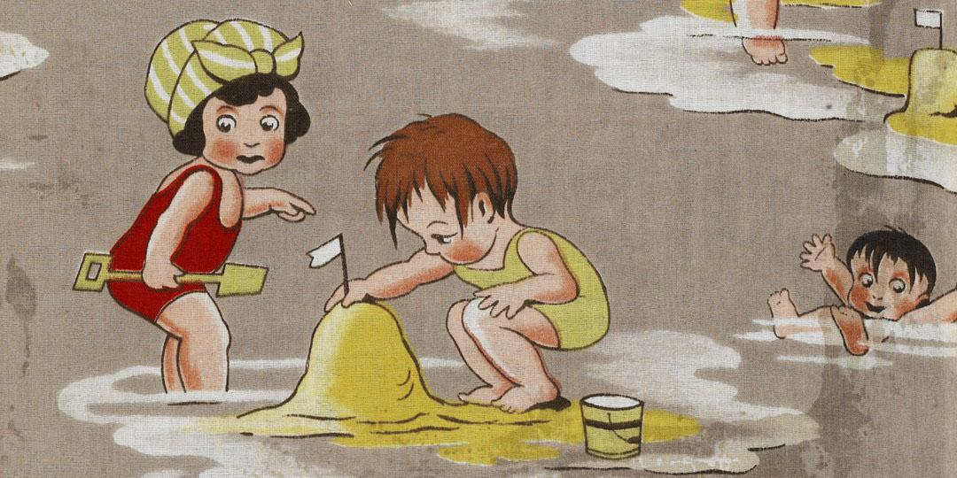 Motif pour enfant : les enfants à la plage, Mulhouse, musée de l'Impression sur Etoffes
