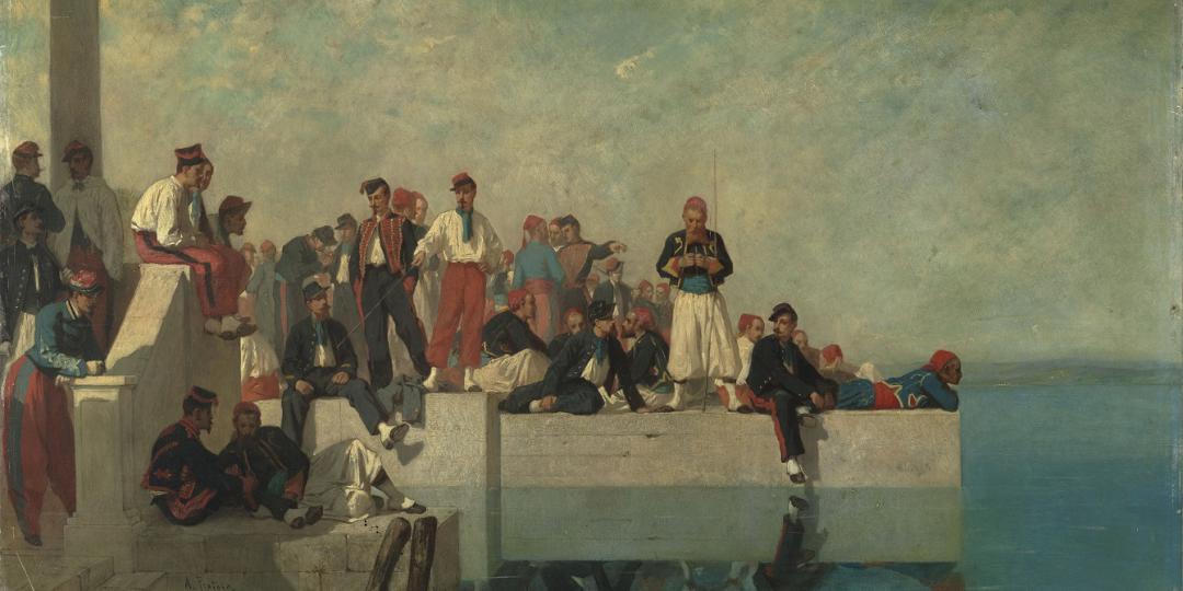Militaires sur un quai à Toulon d'Alexandre Protais acquis par le musée d'Orsay