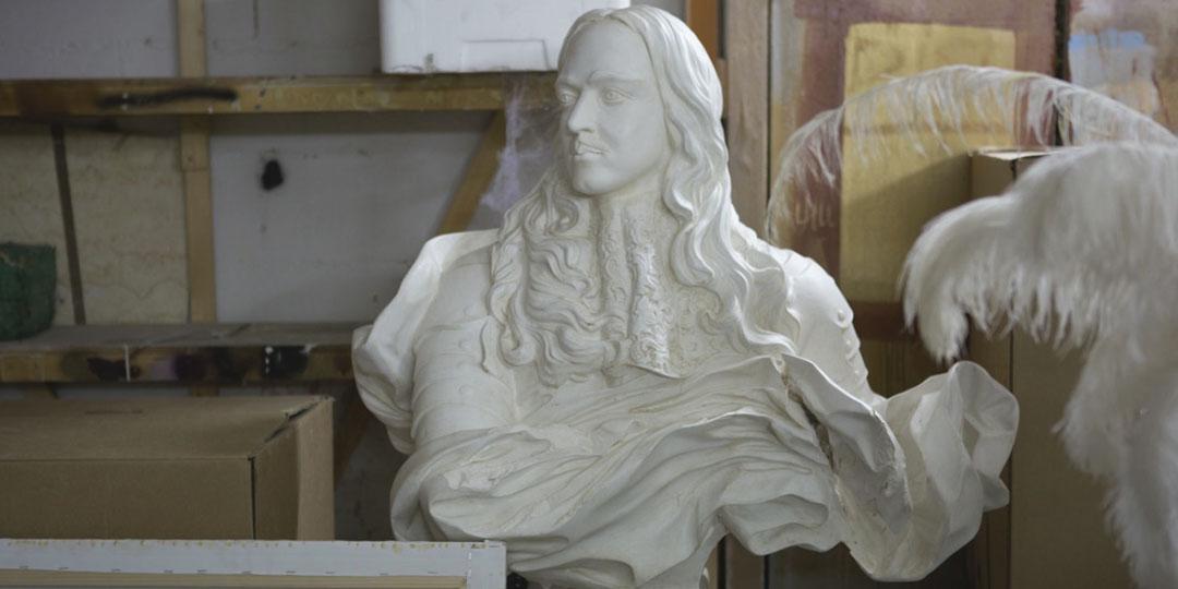 accessoires, buste plâtre Louis XIV