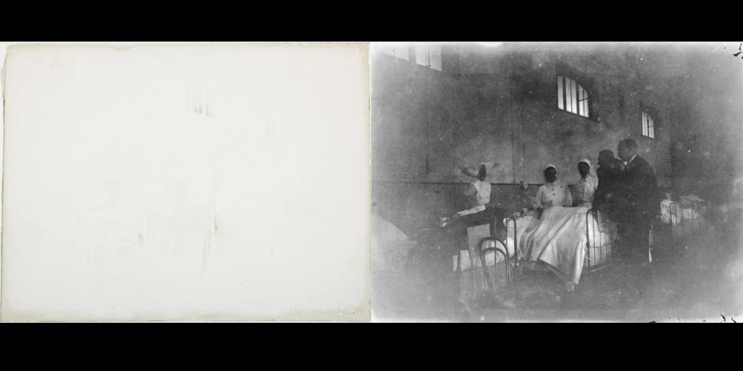 Médecins et infirmières au chevet d'un soldat à l'hôpital, Maurice Bauchond, 1915