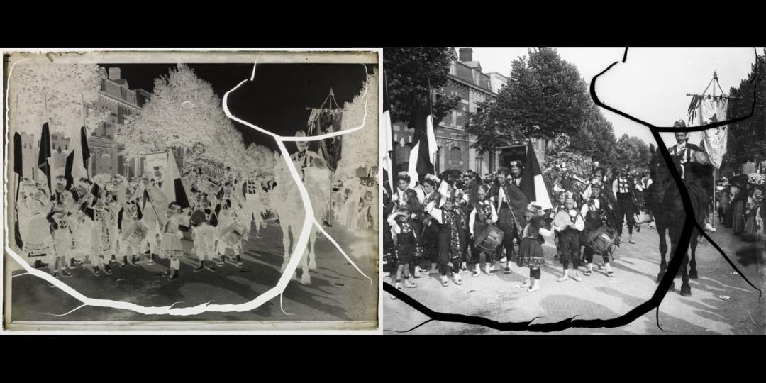 Défilé de carnaval et fanfare. Fanfare de la ville de Denain, Maurice Bauchond