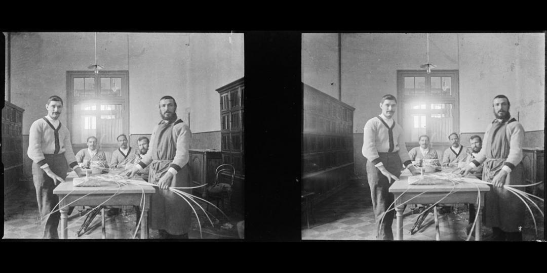 Blessés de guerre à l'atelier vannerie, Maurice Bauchond