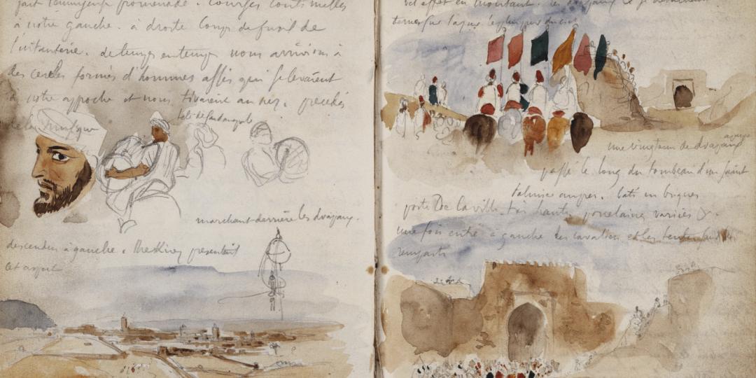 Croquis d'arabes, paysage et notes manuscrites; Cavaliers, foule devant une porte de la ville