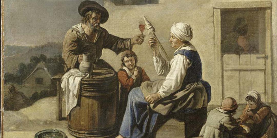 Le Repas de l'artisan, Maître aux Béguins (milieu du 17e siècle). Musée des Beaux-Arts de Valenciennes