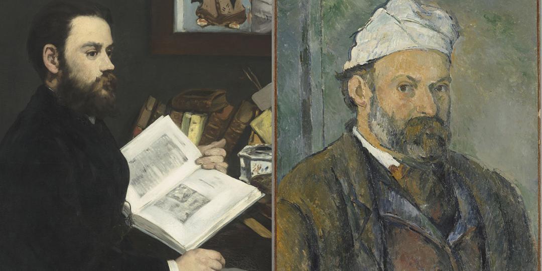 Emile Zola,  Edouard Manet, musée d'Orsay / Autoportrait, Paul Cézanne, Bayerische Staatsgemäldesammlungen, Neue Pinakothek