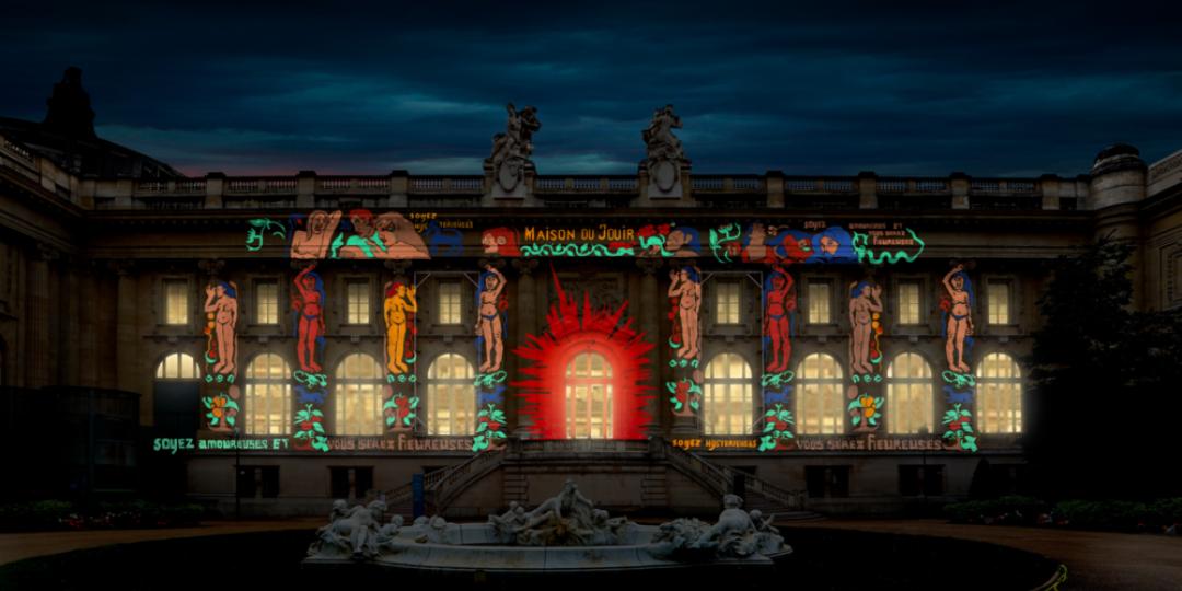 Tableau final de la Maison du Jouir sur la façade du Grand Palais square Jean Perrin