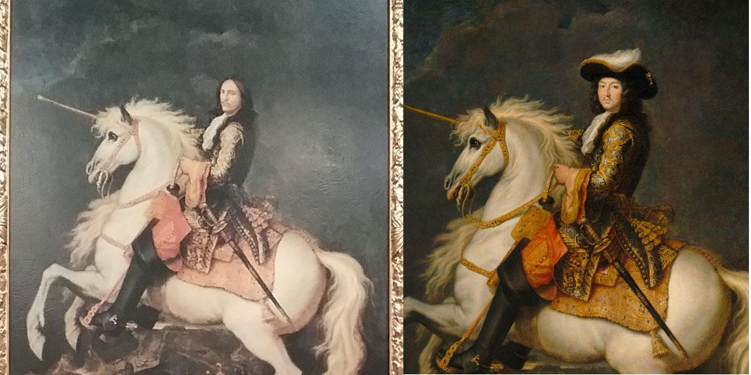 comparaison portrait équestre du Louis XIV