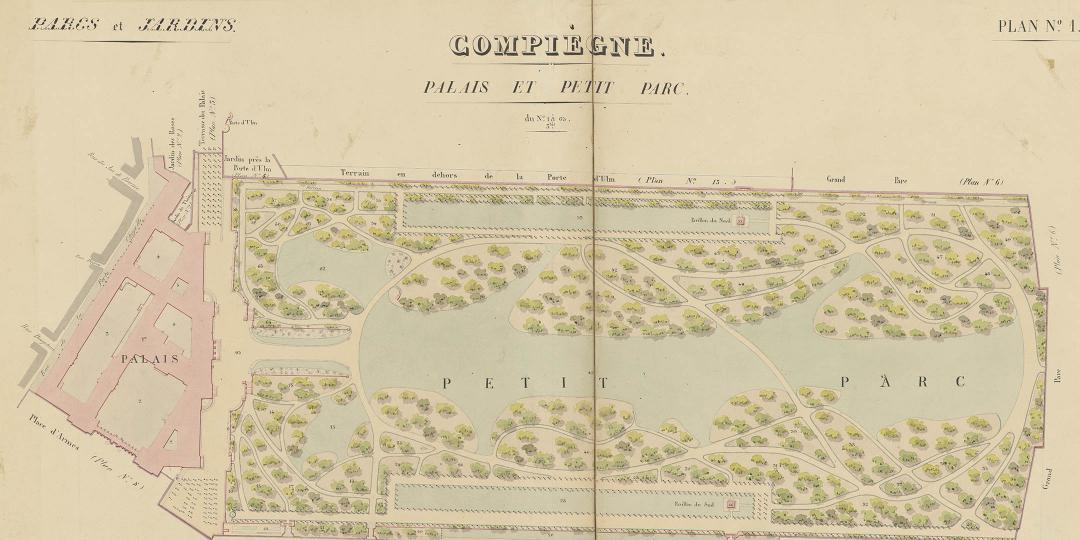 Domaine de la couronne. Atlas des parcs et jardins. Compiègne 1844.