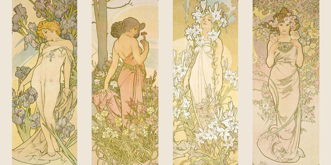 Flowers: Iris, Carnation, Lily and Rose, Alfonse Mucha, Bibliothèque nationale de France (BnF)
