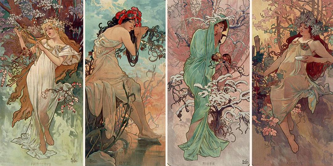 The Seasons : Spring, Summer, Winter and Autumn, Alfonse Mucha, Bibliothèque nationale de France (BnF)