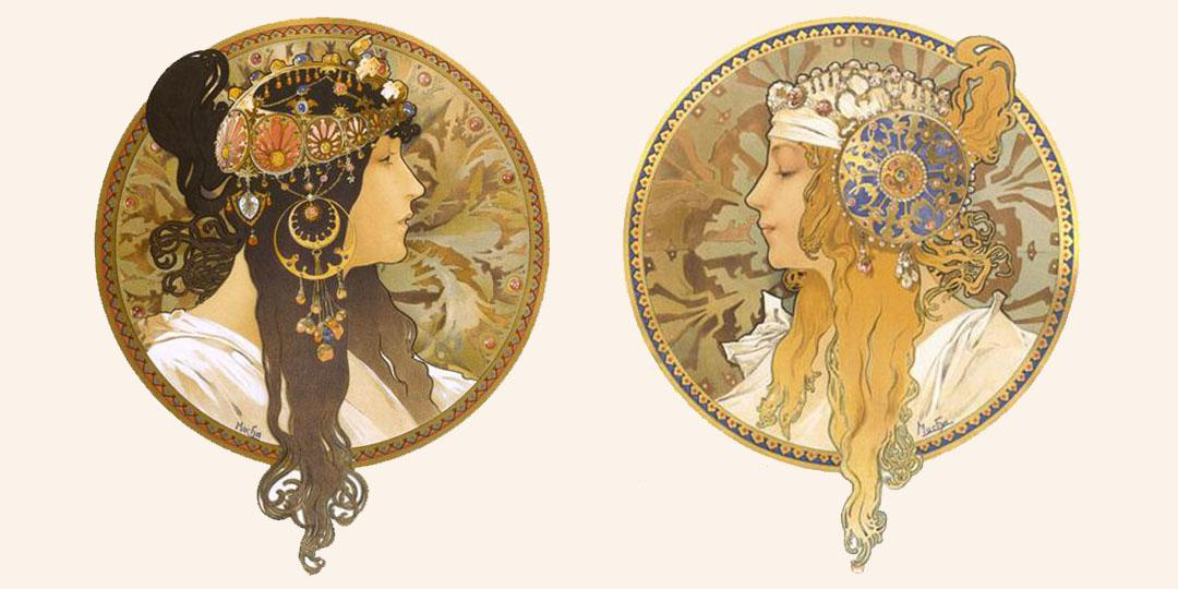 Byzantine heads: Brunette & Blonde, Alfonse Mucha, Bibliothèque nationale de France (BnF)