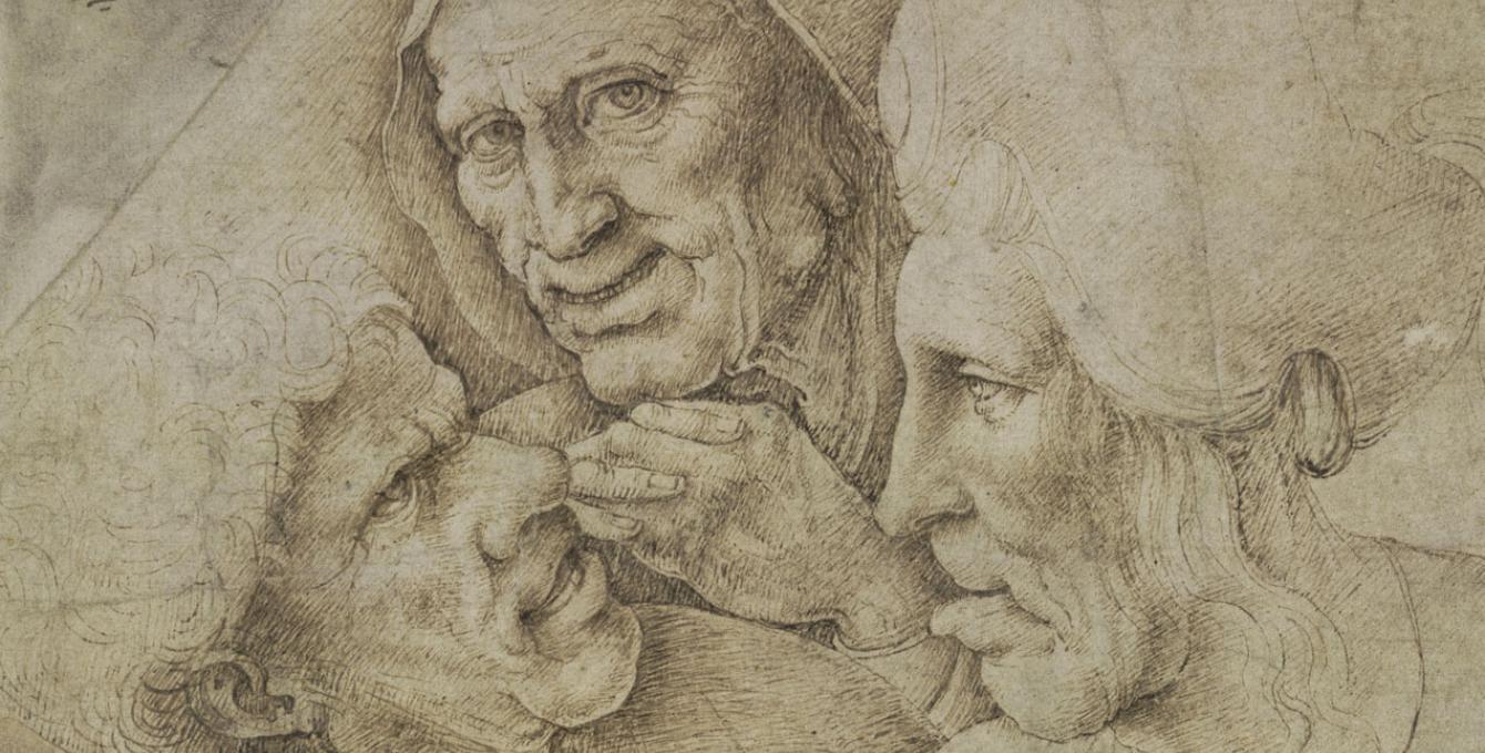 Caricature de têtes : Un homme et deux femmes, d'après Léonard De Vinci,Photo (C) The British Museum, Londres, Dist. RMN-Grand Palais / The Trustees of the British Museum