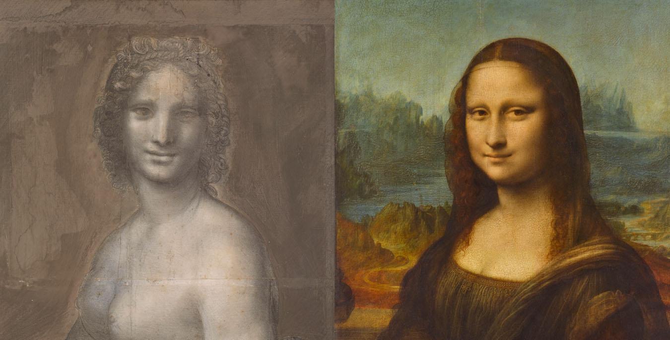 La Joconde nue, dite Mona Vanna / La Joconde. Portrait de Monna Lisa, Léonard de Vinci, Musée Condé / Musée du Louvre